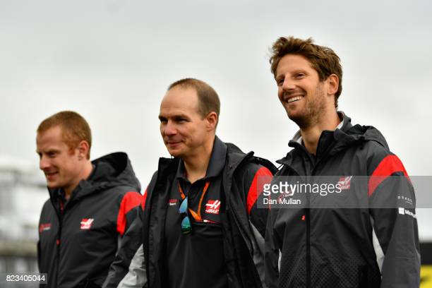 Romain Grosjean of France and Haas F1 walks the circuit with his engineers during previews ahead of the Formula One Grand Prix of Hungary at...