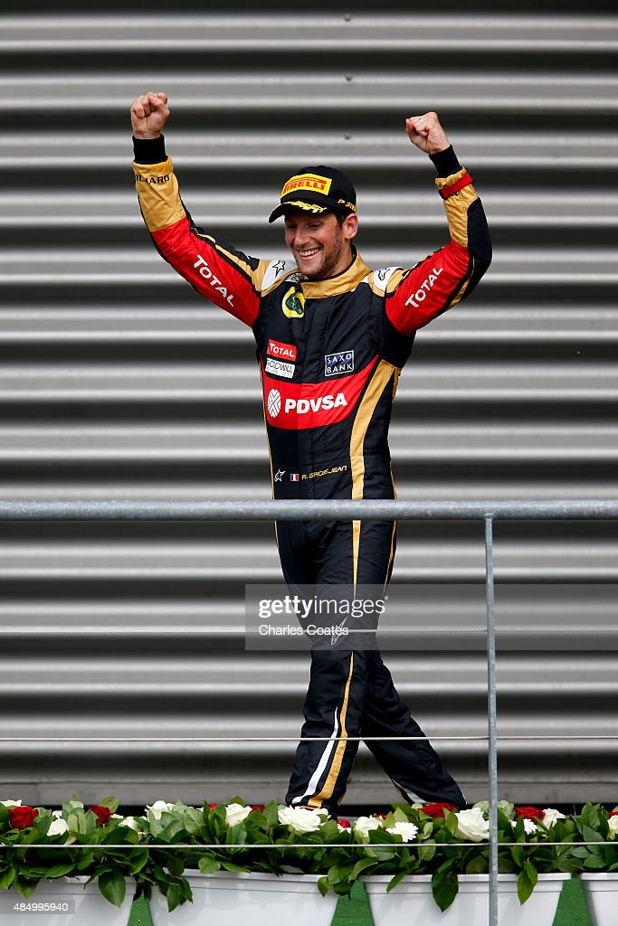 <a gi-track='captionPersonalityLinkClicked' href=/galleries/search?phrase=Romain+Grosjean&family=editorial&specificpeople=4858519 ng-click='$event.stopPropagation()'>Romain Grosjean</a> of France and Lotus celebrates on the podium after finishing third in the Formula One Grand Prix of Belgium at Circuit de Spa-Francorchamps on August 23, 2015 in Spa, Belgium.