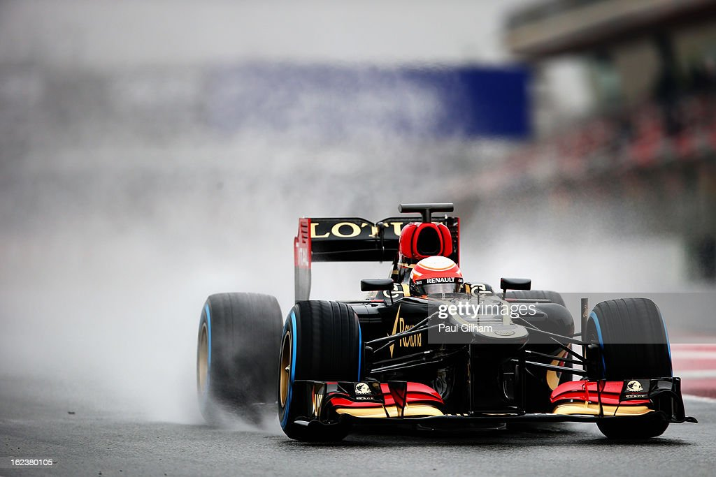 <a gi-track='captionPersonalityLinkClicked' href=/galleries/search?phrase=Romain+Grosjean&family=editorial&specificpeople=4858519 ng-click='$event.stopPropagation()'>Romain Grosjean</a> of France and Lotus drives during day four of Formula One winter test at the Circuit de Catalunya on February 22, 2013 in Montmelo, Spain.