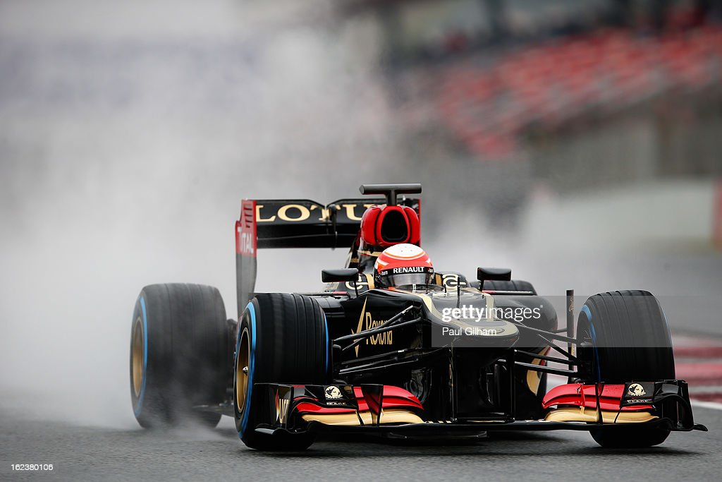 Romain Grosjean of France and Lotus drives during day four of Formula One winter test at the Circuit de Catalunya on February 22, 2013 in Montmelo, Spain.