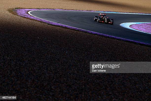Romain Grosjean of France and Lotus drives during day four of Formula One Winter Testing at Circuito de Jerez on February 4 2015 in Jerez de la...