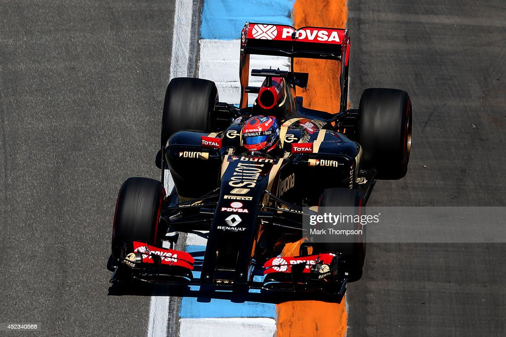 <a gi-track='captionPersonalityLinkClicked' href=/galleries/search?phrase=Romain+Grosjean&family=editorial&specificpeople=4858519 ng-click='$event.stopPropagation()'>Romain Grosjean</a> of France and Lotus drives during practice ahead of the German Grand Prix at Hockenheimring on July 18, 2014 in Hockenheim, Germany.