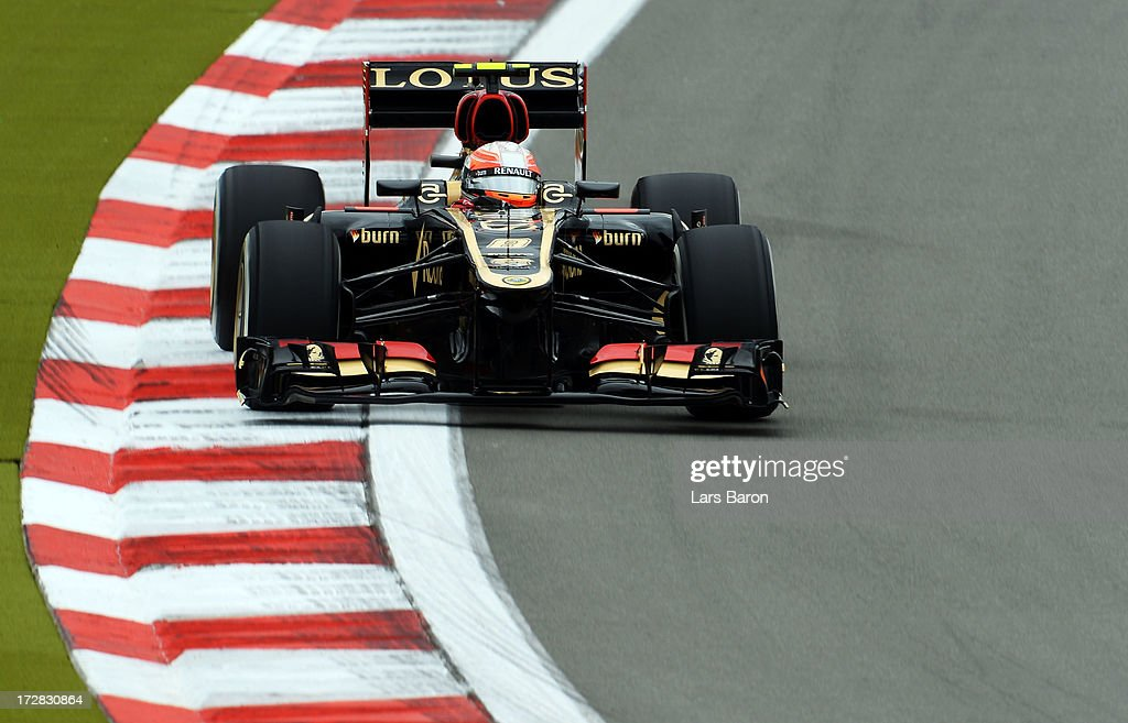 Romain Grosjean of France and Lotus drives during practice for the German Grand Prix at the Nuerburgring on July 5, 2013 in Nuerburg, Germany.