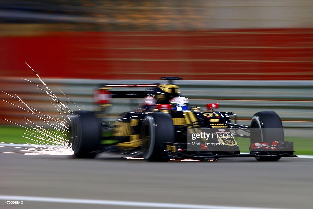 <a gi-track='captionPersonalityLinkClicked' href=/galleries/search?phrase=Romain+Grosjean&family=editorial&specificpeople=4858519 ng-click='$event.stopPropagation()'>Romain Grosjean</a> of France and Lotus drives during practice for the Bahrain Formula One Grand Prix at Bahrain International Circuit on April 17, 2015 in Bahrain, Bahrain.