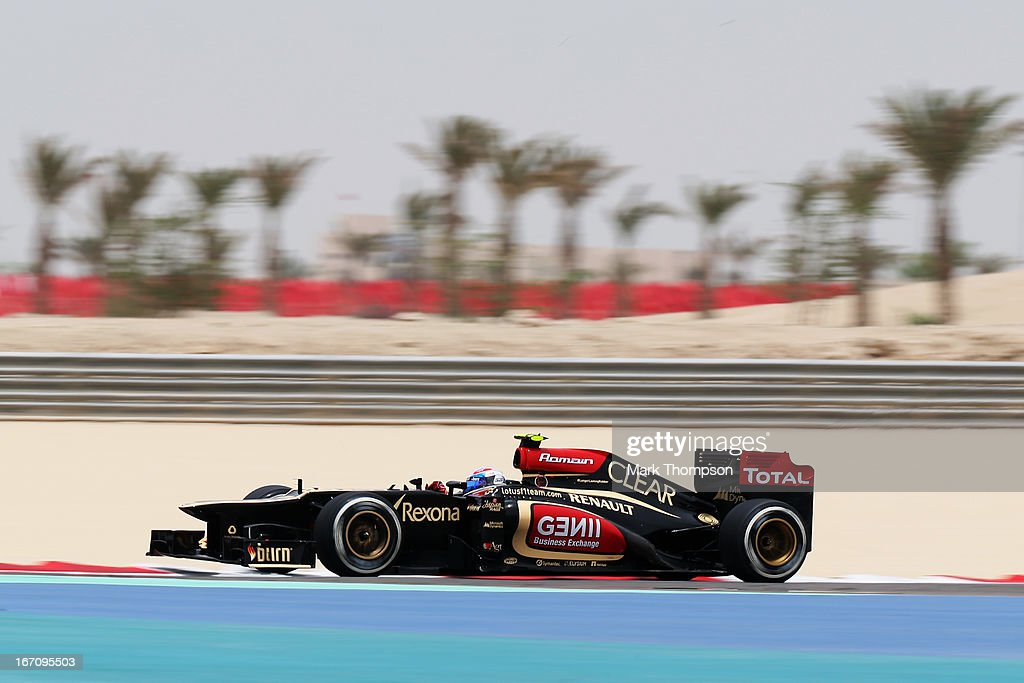Romain Grosjean of France and Lotus drives during the final practice session prior to qualifying for the Bahrain Formula One Grand Prix at the Bahrain International Circuit on April 20, 2013 in Sakhir, Bahrain.