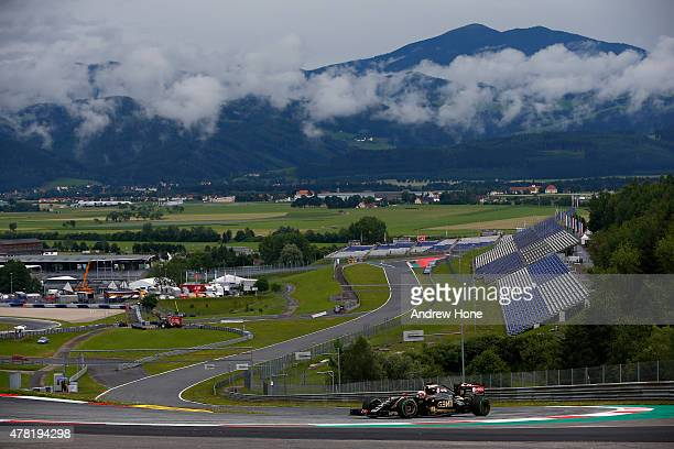 Romain Grosjean of France and Lotus F1 Team drives during Formula One testing at the Red Bull Ring on June 23 2015 in Spielberg Austria