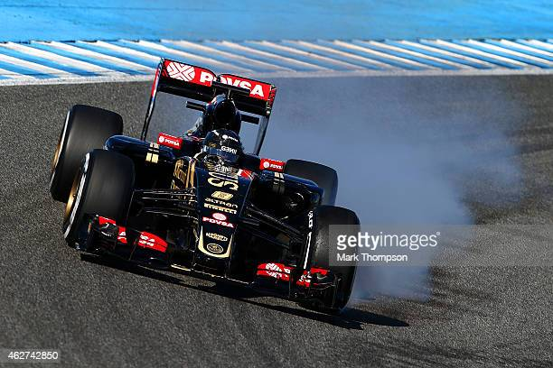 Romain Grosjean of France and Lotus locks up during day four of Formula One Winter Testing at Circuito de Jerez on February 4 2015 in Jerez de la...