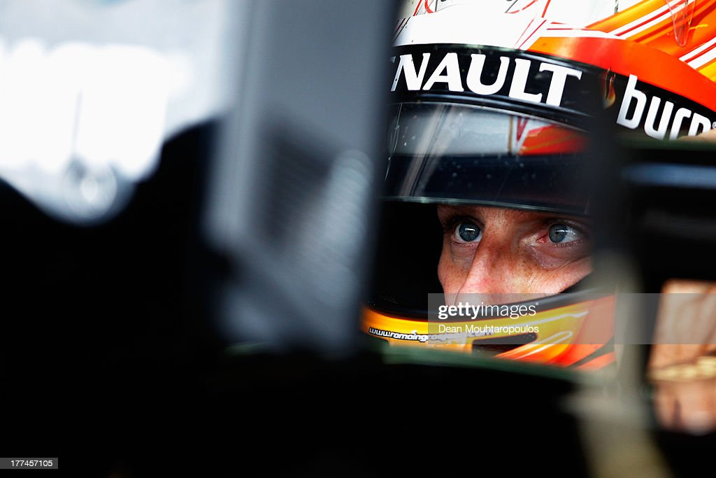 <a gi-track='captionPersonalityLinkClicked' href=/galleries/search?phrase=Romain+Grosjean&family=editorial&specificpeople=4858519 ng-click='$event.stopPropagation()'>Romain Grosjean</a> of France and Lotus prepares to drive during practice for the Belgian Grand Prix at Circuit de Spa-Francorchamps on August 23, 2013 in Spa, Belgium.