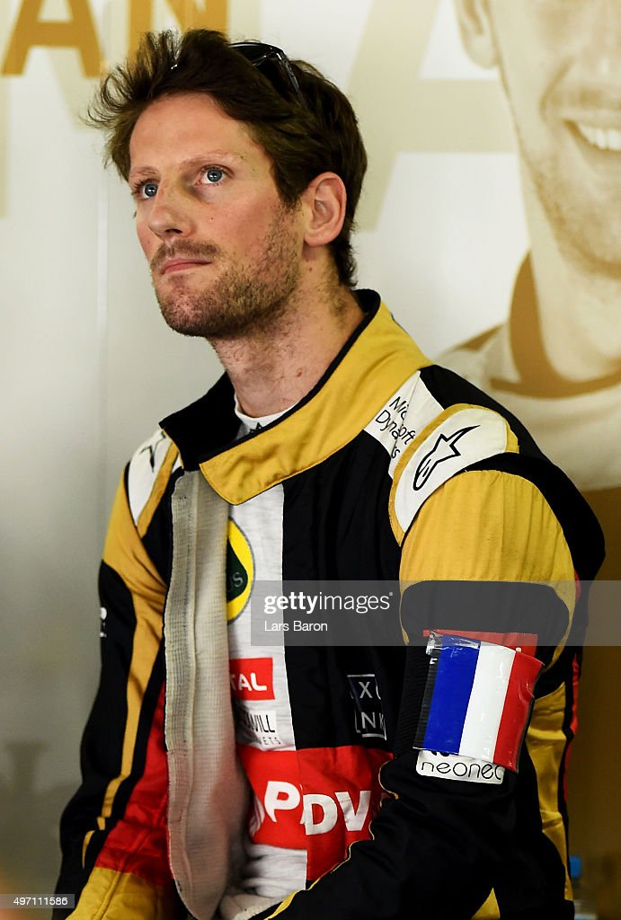 <a gi-track='captionPersonalityLinkClicked' href=/galleries/search?phrase=Romain+Grosjean&family=editorial&specificpeople=4858519 ng-click='$event.stopPropagation()'>Romain Grosjean</a> of France and Lotus wears a french national flag on his arm in tribute to the victims of the terrorist attacks in Paris as he stands in the garage during final practice for the Formula One Grand Prix of Brazil at Autodromo Jose Carlos Pace on November 14, 2015 in Sao Paulo, Brazil.