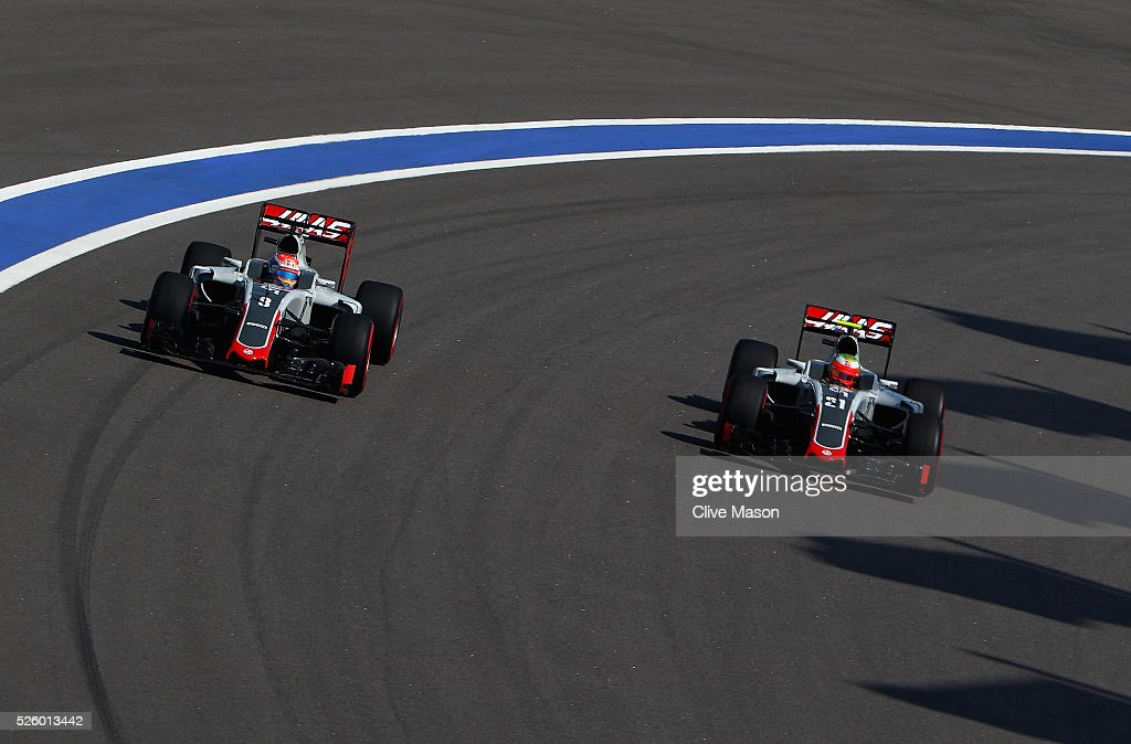 <a gi-track='captionPersonalityLinkClicked' href=/galleries/search?phrase=Romain+Grosjean&family=editorial&specificpeople=4858519 ng-click='$event.stopPropagation()'>Romain Grosjean</a> of France driving the (8) Haas F1 Team Haas-Ferrari VF-16 Ferrari 059/5 turbo and Esteban Gutierrez of Mexico driving the (21) Haas F1 Team Haas-Ferrari VF-16 Ferrari 059/5 turbo on track during practice for the Formula One Grand Prix of Russia at Sochi Autodrom on April 29, 2016 in Sochi, Russia.