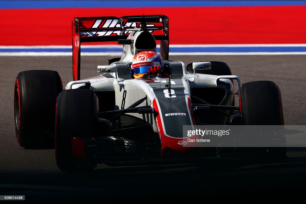 <a gi-track='captionPersonalityLinkClicked' href=/galleries/search?phrase=Romain+Grosjean&family=editorial&specificpeople=4858519 ng-click='$event.stopPropagation()'>Romain Grosjean</a> of France driving the (8) Haas F1 Team Haas-Ferrari VF-16 Ferrari 059/5 turbo on track during practice for the Formula One Grand Prix of Russia at Sochi Autodrom on April 29, 2016 in Sochi, Russia.