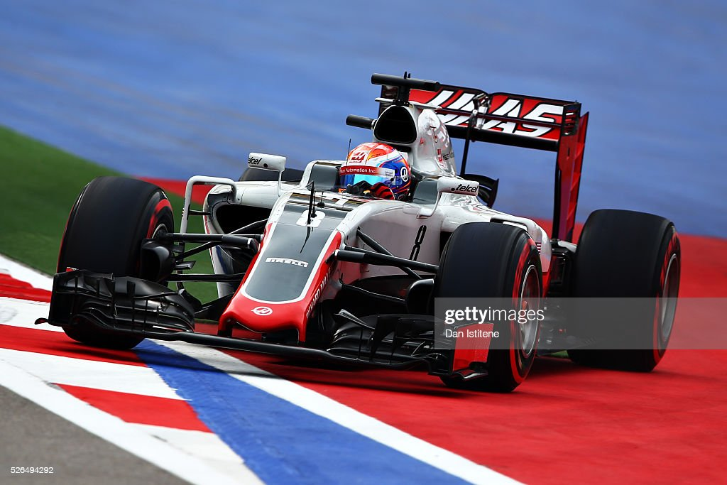 <a gi-track='captionPersonalityLinkClicked' href=/galleries/search?phrase=Romain+Grosjean&family=editorial&specificpeople=4858519 ng-click='$event.stopPropagation()'>Romain Grosjean</a> of France driving the (8) Haas F1 Team Haas-Ferrari VF-16 Ferrari 059/5 turbo off the circuit during qualifying for the Formula One Grand Prix of Russia at Sochi Autodrom on April 30, 2016 in Sochi, Russia.