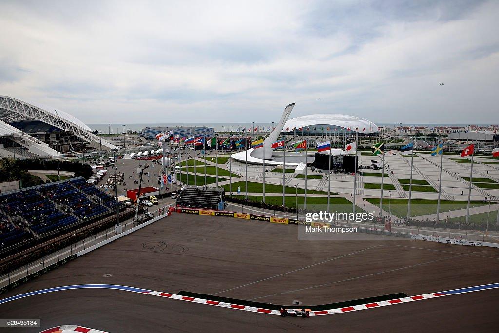 Romain Grosjean of France driving the (8) Haas F1 Team Haas-Ferrari VF-16 Ferrari 059/5 turbo on track during final practice ahead of the Formula One Grand Prix of Russia at Sochi Autodrom on April 30, 2016 in Sochi, Russia.