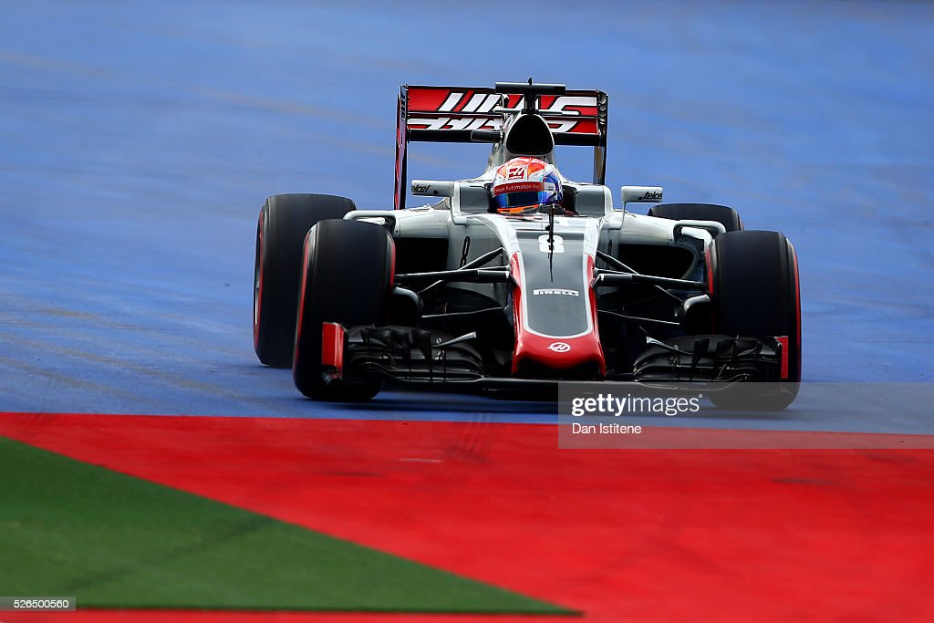 Romain Grosjean of France driving the (8) Haas F1 Team Haas-Ferrari VF-16 Ferrari 059/5 turbo off the circuit during qualifying for the Formula One Grand Prix of Russia at Sochi Autodrom on April 30, 2016 in Sochi, Russia.