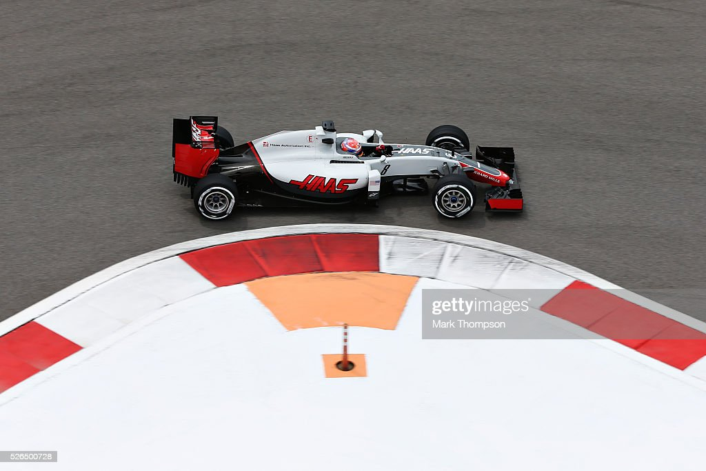 Romain Grosjean of France driving the (8) Haas F1 Team Haas-Ferrari VF-16 Ferrari 059/5 turbo on track during final practice ahead of the Formula One Grand Prix of Russia at Sochi Autodrom on April 30, 2016 in Sochi, Russia.