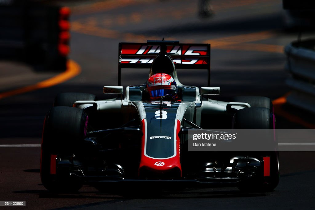 Romain Grosjean of France driving the (8) Haas F1 Team Haas-Ferrari VF-16 Ferrari 059/5 turbo on track during practice for the Monaco Formula One Grand Prix at Circuit de Monaco on May 26, 2016 in Monte-Carlo, Monaco.