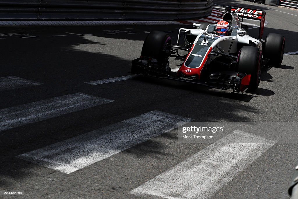 <a gi-track='captionPersonalityLinkClicked' href=/galleries/search?phrase=Romain+Grosjean&family=editorial&specificpeople=4858519 ng-click='$event.stopPropagation()'>Romain Grosjean</a> of France driving the (8) Haas F1 Team Haas-Ferrari VF-16 Ferrari 059/5 turbo on track during practice for the Monaco Formula One Grand Prix at Circuit de Monaco on May 26, 2016 in Monte-Carlo, Monaco.