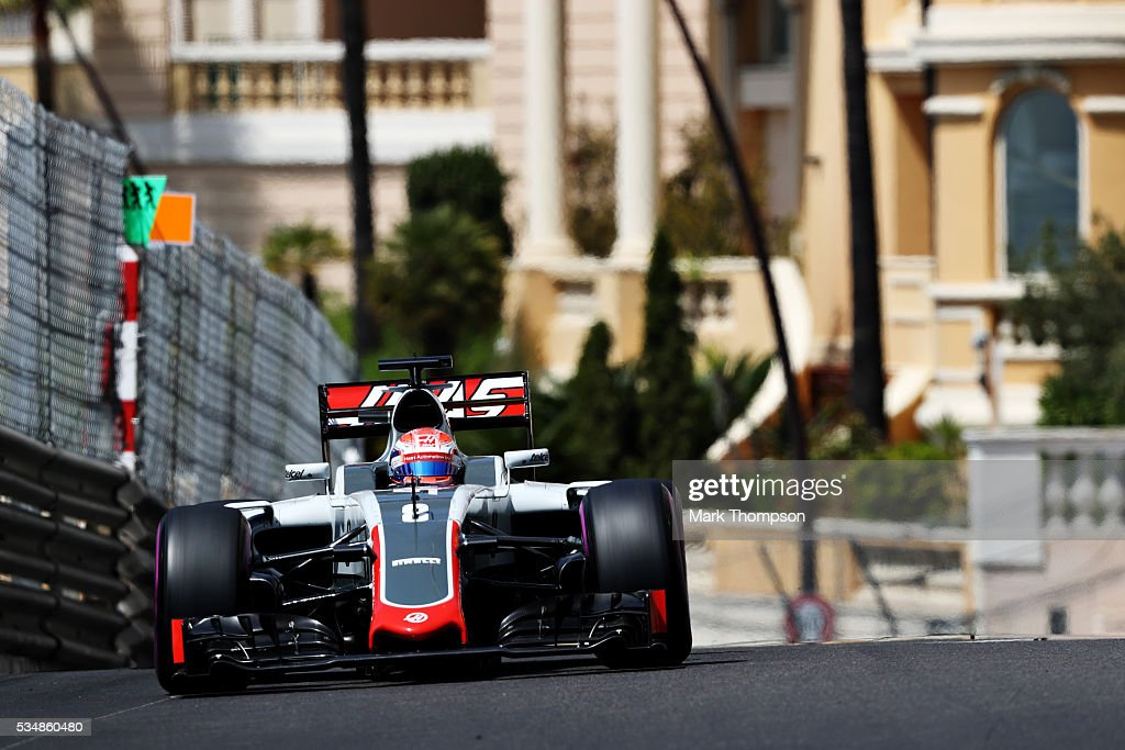 <a gi-track='captionPersonalityLinkClicked' href=/galleries/search?phrase=Romain+Grosjean&family=editorial&specificpeople=4858519 ng-click='$event.stopPropagation()'>Romain Grosjean</a> of France driving the (8) Haas F1 Team Haas-Ferrari VF-16 Ferrari 059/5 turbo on track during final practice ahead of the Monaco Formula One Grand Prix at Circuit de Monaco on May 28, 2016 in Monte-Carlo, Monaco.