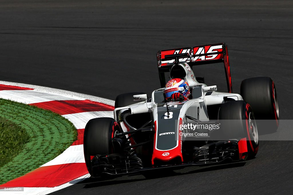 <a gi-track='captionPersonalityLinkClicked' href=/galleries/search?phrase=Romain+Grosjean&family=editorial&specificpeople=4858519 ng-click='$event.stopPropagation()'>Romain Grosjean</a> of France driving the (8) Haas F1 Team Haas-Ferrari VF-16 Ferrari 059/5 turbo on track during practice for the Formula One Grand Prix of Austria at Red Bull Ring on July 1, 2016 in Spielberg, Austria.