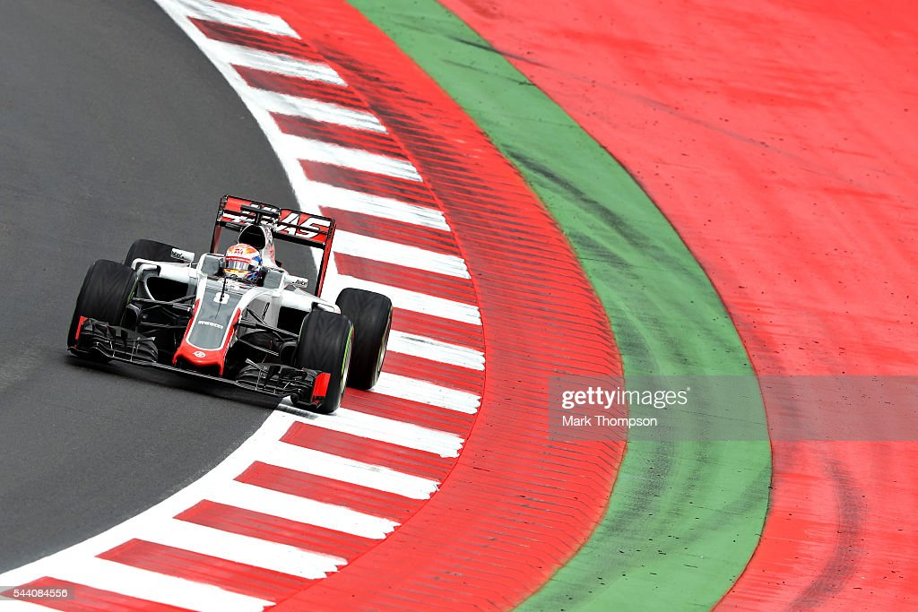 Romain Grosjean of France driving the (8) Haas F1 Team Haas-Ferrari VF-16 Ferrari 059/5 turbo on track during practice for the Formula One Grand Prix of Austria at Red Bull Ring on July 1, 2016 in Spielberg, Austria.