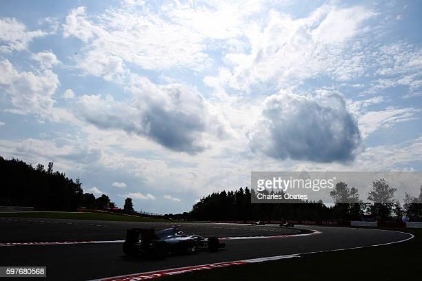 Romain Grosjean of France driving the Haas F1 Team HaasFerrari VF16 Ferrari 059/5 turbo on track during the Formula One Grand Prix of Belgium at...