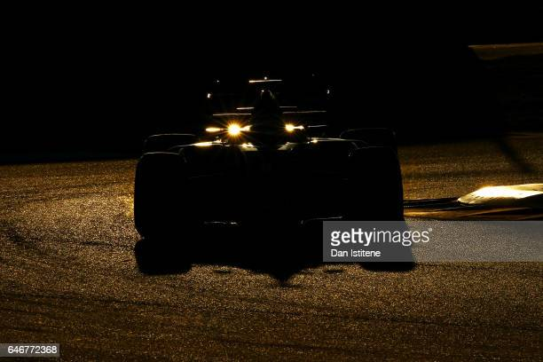 Romain Grosjean of France driving the Haas F1 Team HaasFerrari VF17 Ferrari in the Pitlane during day three of Formula One winter testing at Circuit...