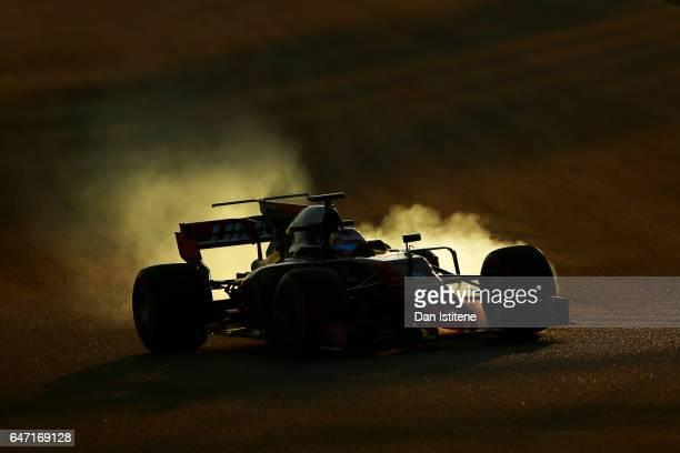 Romain Grosjean of France driving the Haas F1 Team HaasFerrari VF17 Ferrari on track during day four of Formula One winter testing at Circuit de...