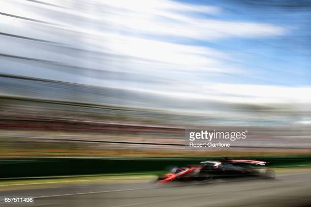 Romain Grosjean of France driving the Haas F1 Team HaasFerrari VF17 Ferrari on track during final practice for the Australian Formula One Grand Prix...