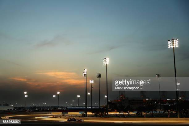 Romain Grosjean of France driving the Haas F1 Team HaasFerrari VF17 Ferrari on track during practice for the Bahrain Formula One Grand Prix at...