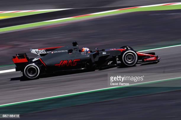 Romain Grosjean of France driving the Haas F1 Team HaasFerrari VF17 Ferrari on track during practice for the Spanish Formula One Grand Prix at...