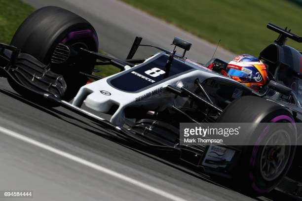 Romain Grosjean of France driving the Haas F1 Team HaasFerrari VF17 Ferrari on track during qualifying for the Canadian Formula One Grand Prix at...
