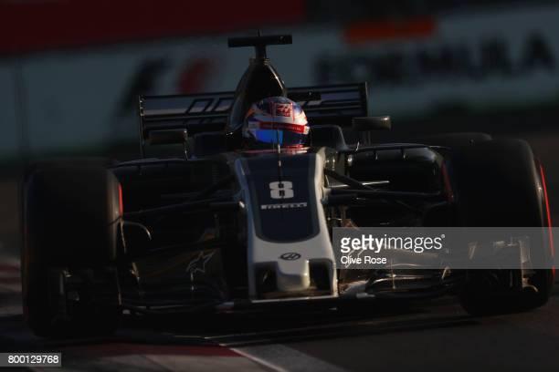 Romain Grosjean of France driving the Haas F1 Team HaasFerrari VF17 Ferrari on track during practice for the Azerbaijan Formula One Grand Prix at...