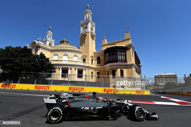 Romain Grosjean of France driving the Haas F1 Team HaasFerrari VF17 Ferrari on track during final practice for the Azerbaijan Formula One Grand Prix...
