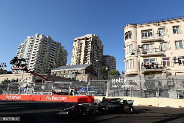 Romain Grosjean of France driving the Haas F1 Team HaasFerrari VF17 Ferrari on track during the Azerbaijan Formula One Grand Prix at Baku City...