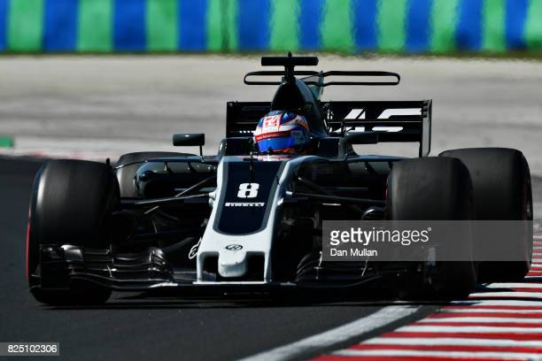 Romain Grosjean of France driving the Haas F1 Team HaasFerrari VF17 Ferrari on track during the Formula One Grand Prix of Hungary at Hungaroring on...