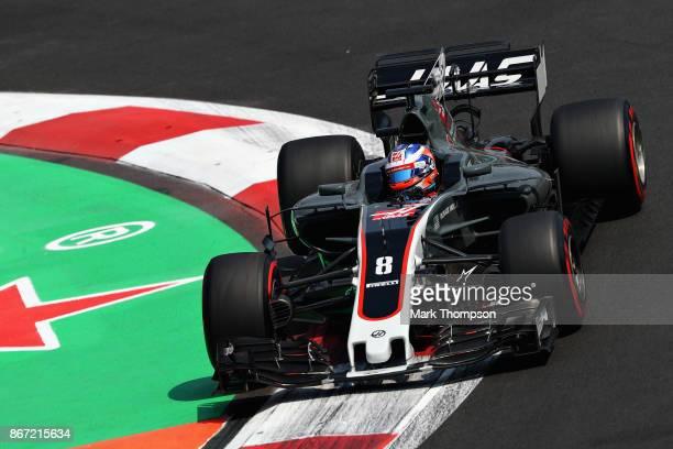 Romain Grosjean of France driving the Haas F1 Team HaasFerrari VF17 Ferrari on track during practice for the Formula One Grand Prix of Mexico at...