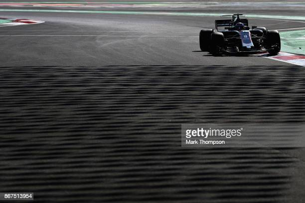 Romain Grosjean of France driving the Haas F1 Team HaasFerrari VF17 Ferrari on track during final practice for the Formula One Grand Prix of Mexico...