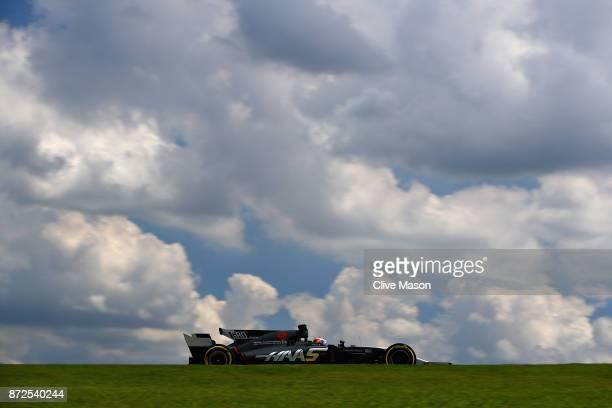 Romain Grosjean of France driving the Haas F1 Team HaasFerrari VF17 Ferrari on track during practice for the Formula One Grand Prix of Brazil at...