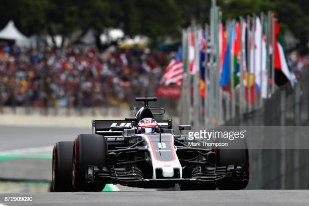 Romain Grosjean of France driving the Haas F1 Team HaasFerrari VF17 Ferrari in the Pitlane during qualifying for the Formula One Grand Prix of Brazil...