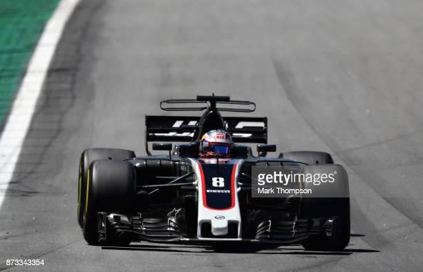 Romain Grosjean of France driving the Haas F1 Team HaasFerrari VF17 Ferrari on track during the Formula One Grand Prix of Brazil at Autodromo Jose...