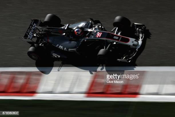 Romain Grosjean of France driving the Haas F1 Team HaasFerrari VF17 Ferrari on track during practice for the Abu Dhabi Formula One Grand Prix at Yas...