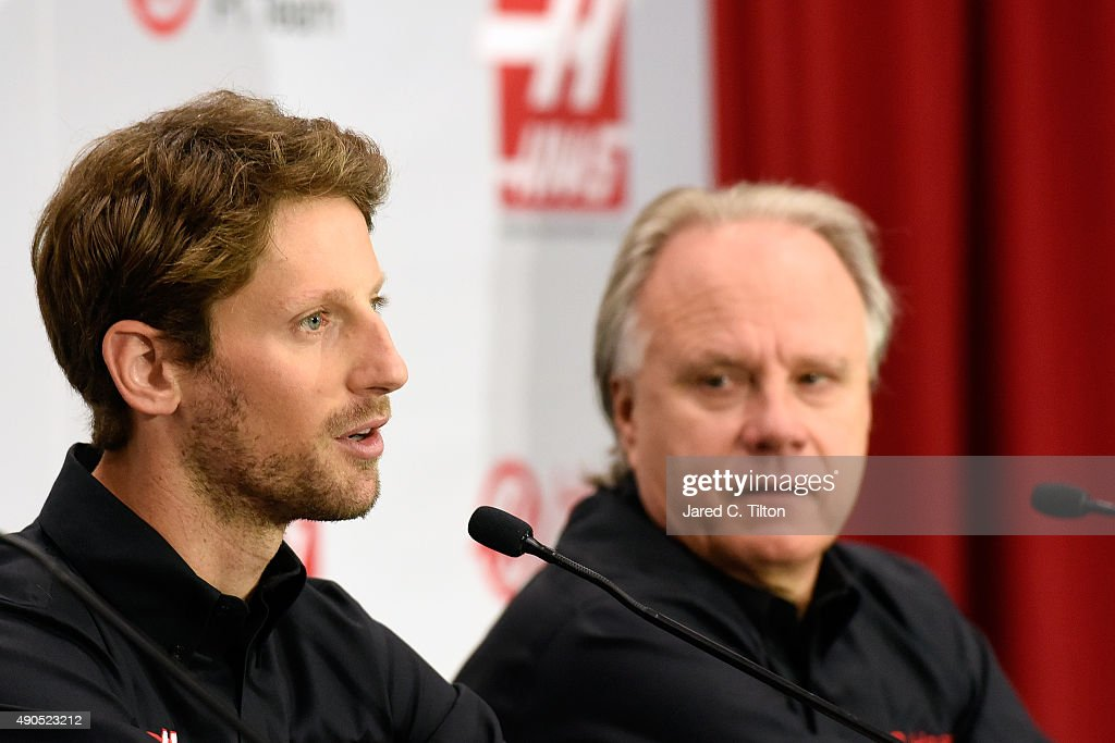 <a gi-track='captionPersonalityLinkClicked' href=/galleries/search?phrase=Romain+Grosjean&family=editorial&specificpeople=4858519 ng-click='$event.stopPropagation()'>Romain Grosjean</a> of France speaks as <a gi-track='captionPersonalityLinkClicked' href=/galleries/search?phrase=Gene+Haas&family=editorial&specificpeople=7243190 ng-click='$event.stopPropagation()'>Gene Haas</a> looks on during a press conference as Haas F1 Team announces Grosjean as their driver for the upcoming 2016 Formula 1 season on September 29, 2015 in Kannapolis, North Carolina.