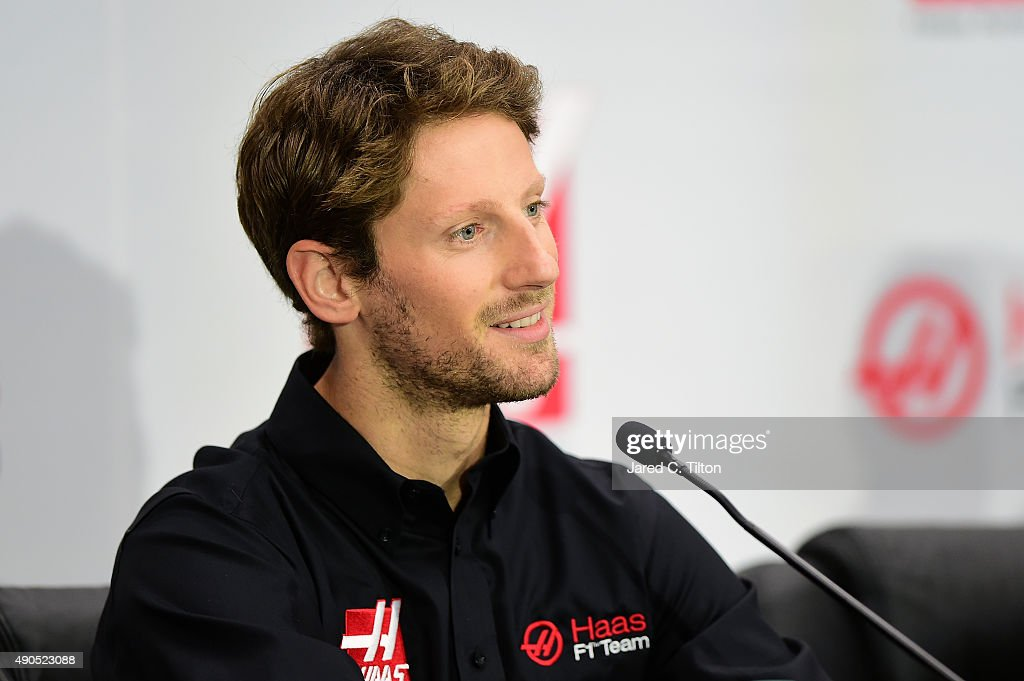 <a gi-track='captionPersonalityLinkClicked' href=/galleries/search?phrase=Romain+Grosjean&family=editorial&specificpeople=4858519 ng-click='$event.stopPropagation()'>Romain Grosjean</a> of France speaks during a press conference as Haas F1 Team announces Grosjean as their driver for the upcoming 2016 Formula 1 season on September 29, 2015 in Kannapolis, North Carolina.
