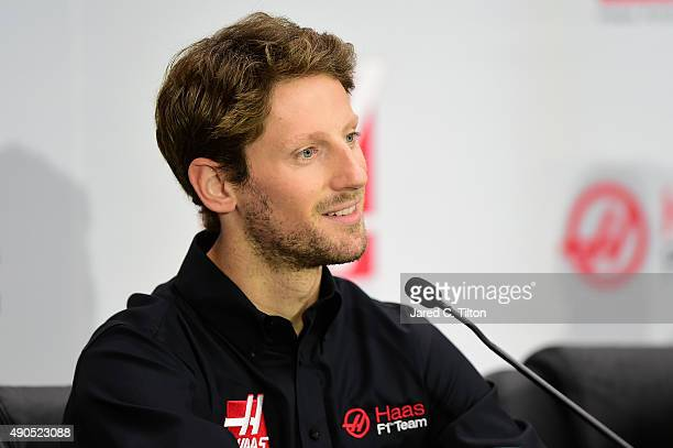 Romain Grosjean of France speaks during a press conference as Haas F1 Team announces Grosjean as their driver for the upcoming 2016 Formula 1 season...
