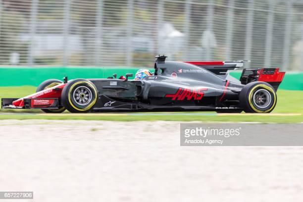 Romain Grosjean of Haas F1 Team on Friday Free Practice during the 2017 Rolex Australian Formula 1 Grand Prix at Albert Park circuit in Melbourne...