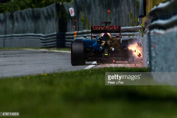 Romain Grosjean of Lotus Formula One Team and France during qualifying for the Canadian Formula One Grand Prix at Circuit Gilles Villeneuve on June 6...