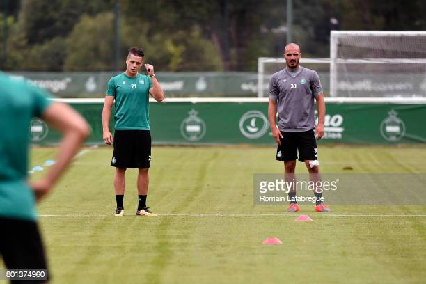 Romain Hamouma and Jessy Moulin of Saint Etienne during the training session of AS SaintEtienne on June 26 2017 in SaintEtienne France