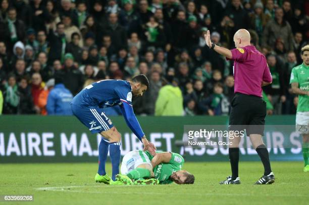 Romain Hamouma of Saint Etienne and Rachid Ghezzal of Lyon during the Ligue 1 match between As Saint Etienne and Olympique Lyonnais Lyon at Stade...