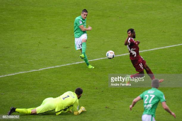 Romain Hamouma of Saint Etienne and Thomas Didillon of Metz during the French Ligue 1 match between Saint Etienne and Metz at Stade GeoffroyGuichard...