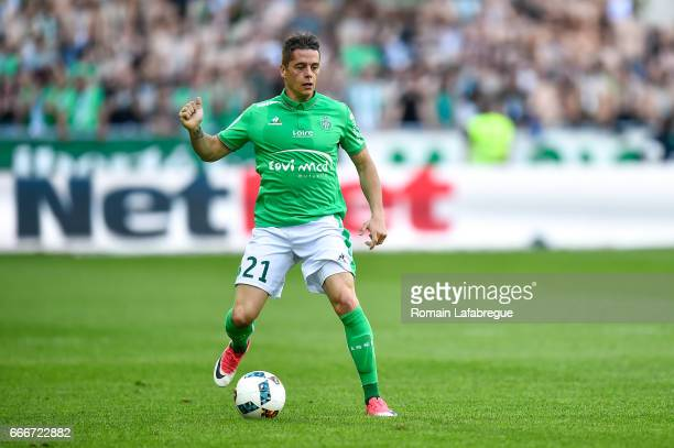 Romain Hamouma of Saint Etienne during the Ligue 1 match between As Saint Etienne and Fc Nantes at Stade GeoffroyGuichard on April 9 2017 in...